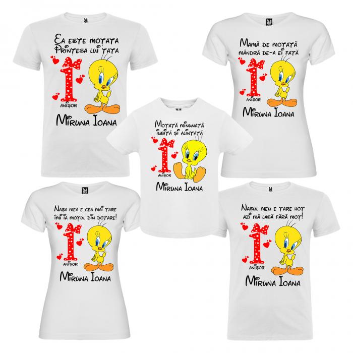 Set de 5 tricouri aniversare pentru nasi,parinti si copil,personalizate cu model Tweety [0]