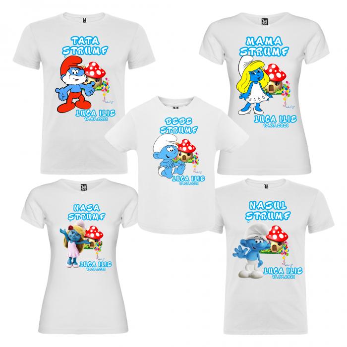 Set de 5 tricouri aniversare pentru nasi,parinti si copil,personalizate cu model Strumfi [0]