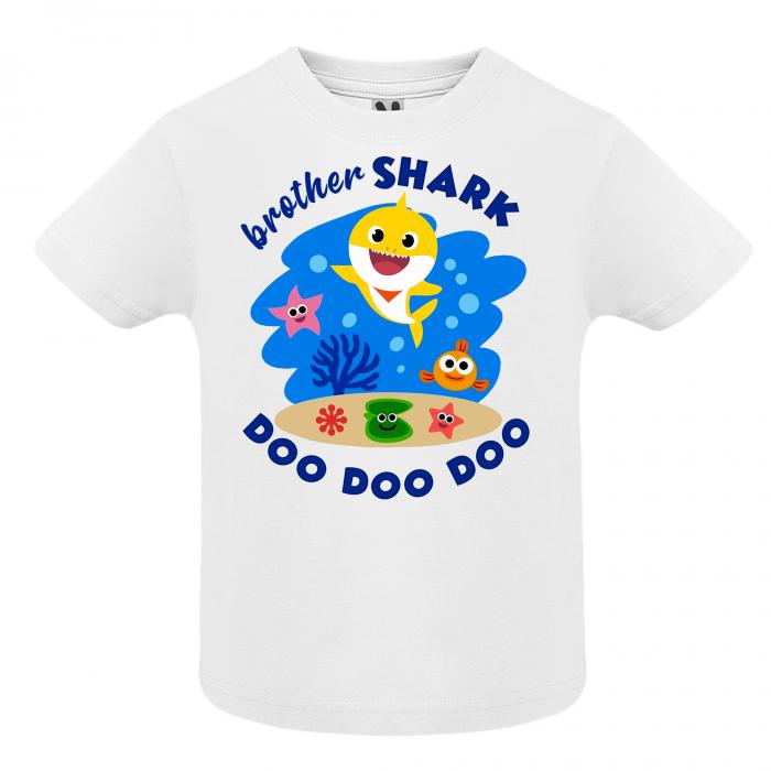 Set de 5 tricouri aniversare pentru nasi,parinti si copil,personalizate cu model Shark [4]