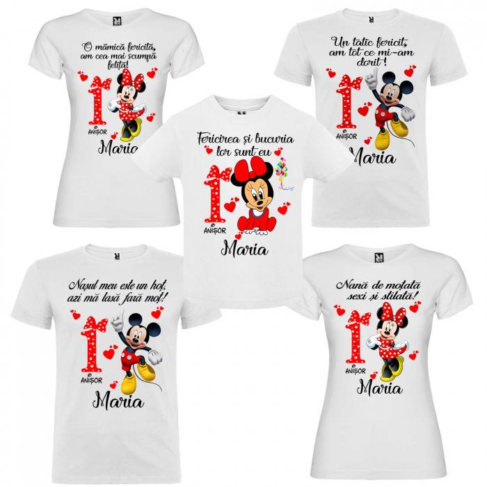 """Set de 5 tricouri personalizate pentru nasi parinti si copil fericirea si bucuria lor sunt eu """"Minnie"""" [0]"""