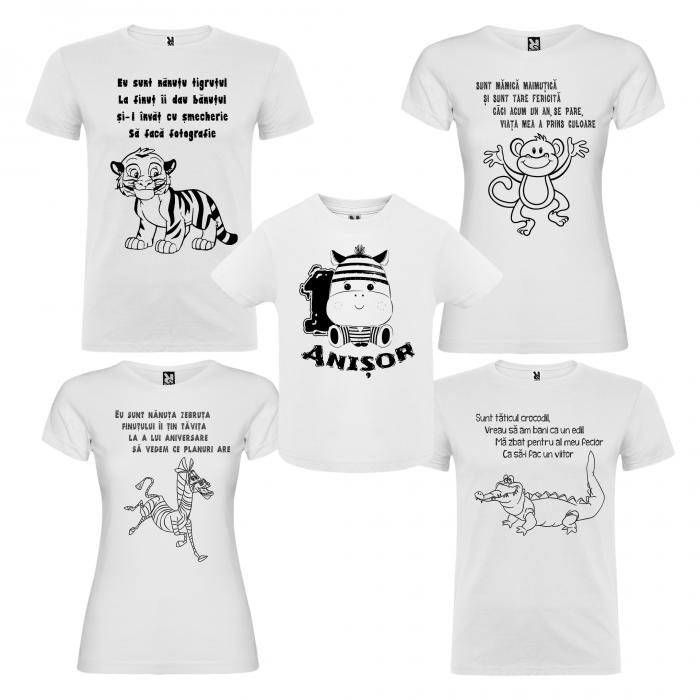 """Set de 5 tricouri aniversare pentru nasi,parinti si copil, personalizate cu varsta si mesaj""""Mamica maimutica"""" [0]"""