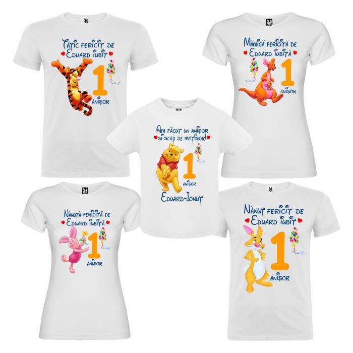 Set de 5 tricouri aniversare pentru nasi,parinti si copil, personalizate cu nume,varsta si mesaj,Winnie [0]