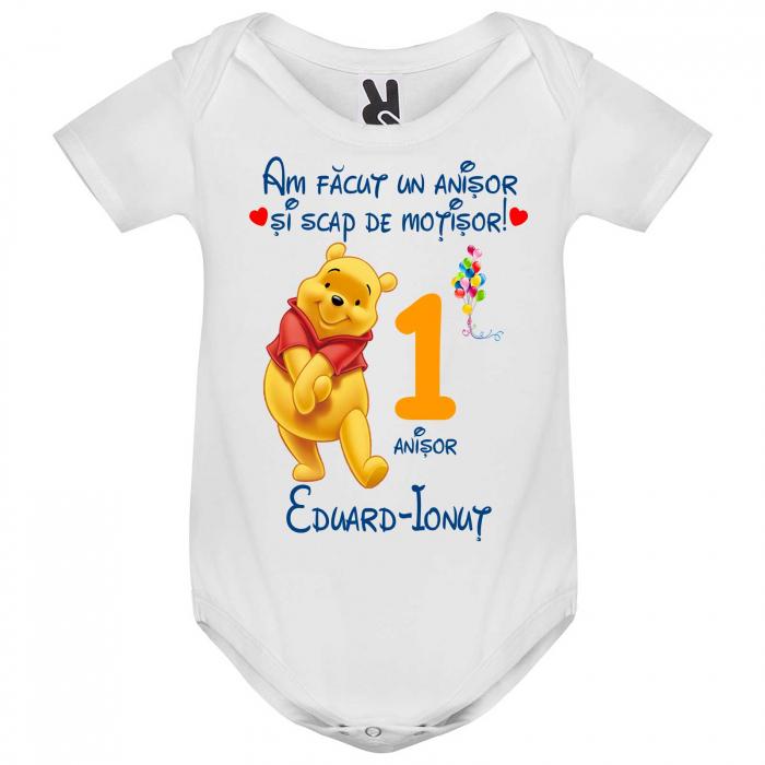 Set de 5 tricouri aniversare pentru nasi,parinti si copil, personalizate cu nume,varsta si mesaj,Winnie [1]