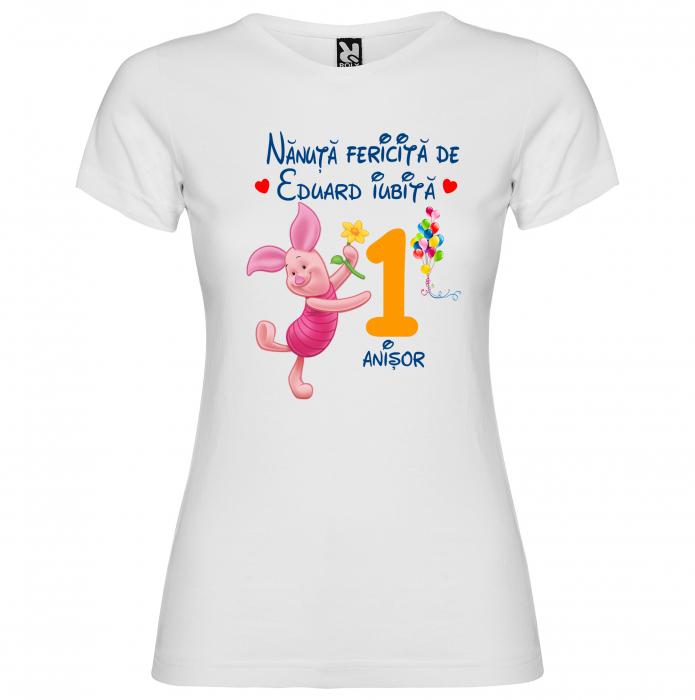 Set de 5 tricouri aniversare pentru nasi,parinti si copil, personalizate cu nume,varsta si mesaj,Winnie [5]