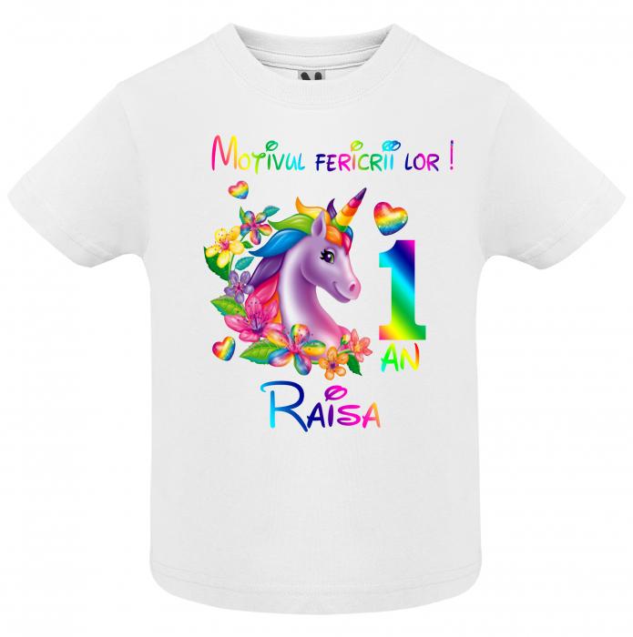 """Set de 5 tricouri aniversare pentru nasi,parinti si copil, personalizate  cu nume,varsta si mesaj""""Motivul fericirii lor,Unicorn"""" [1]"""