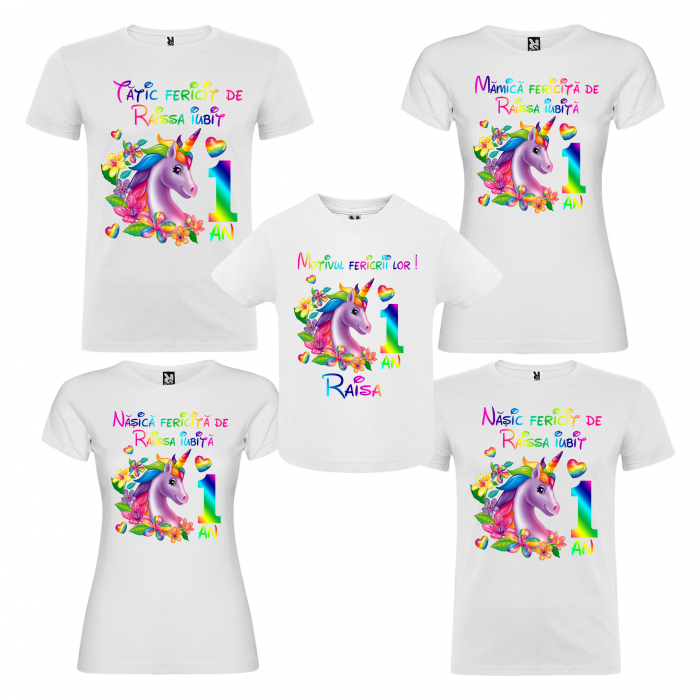 """Set de 5 tricouri aniversare pentru nasi,parinti si copil, personalizate  cu nume,varsta si mesaj""""Motivul fericirii lor,Unicorn"""" [0]"""