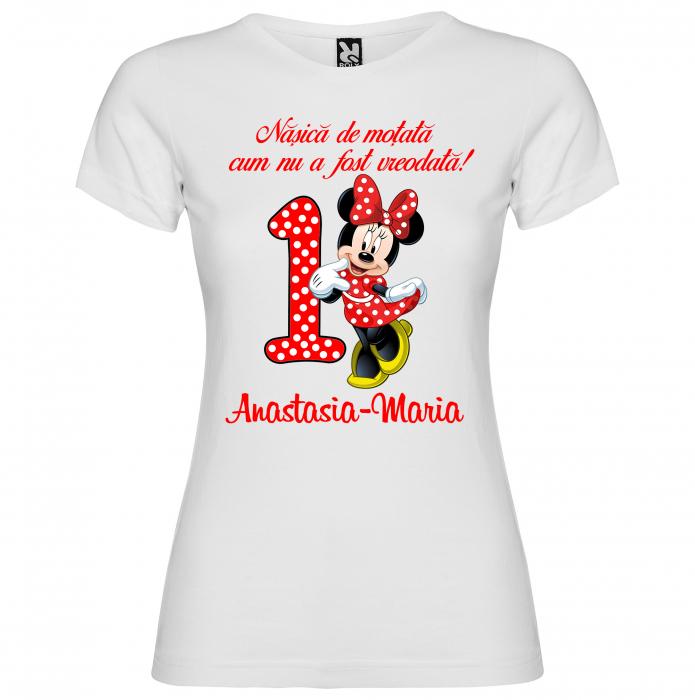 """Set de 5 tricouri aniversare pentru nasi,parinti si copil, personalizate cu nume,varsta si mesaj""""Motul de un an pastrat astazi nana l-a taiat"""" [4]"""