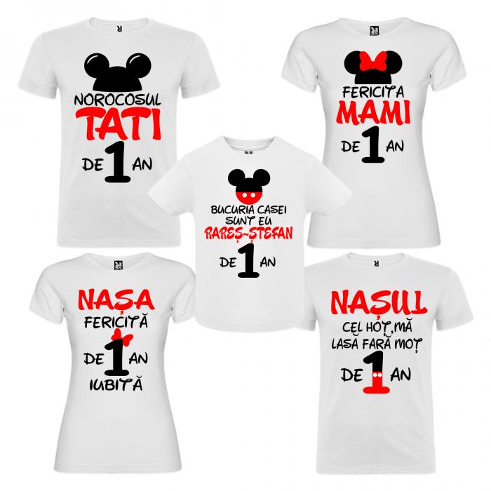 """Set de 5 tricouri aniversare pentru nasi,parinti si copil, personalizate cu nume,varsta si mesaj""""Bucuria casei sunt eu"""" [0]"""