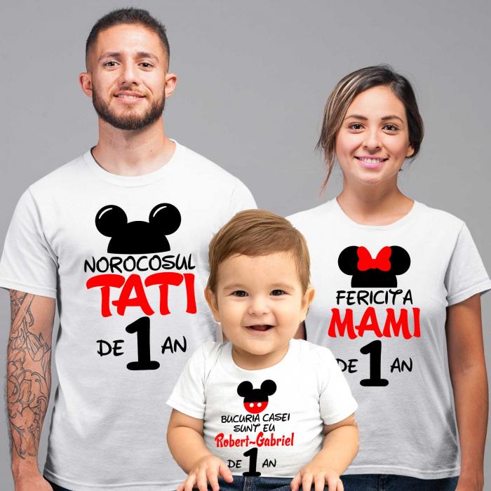 """Set de 5 tricouri aniversare pentru nasi,parinti si copil, personalizate cu nume,varsta si mesaj""""Bucuria casei sunt eu"""" [1]"""