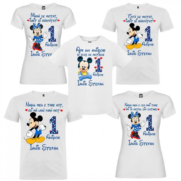 """Set de 5 tricouri aniversare pentru nasi,parinti si copil,personalizate cu nume mama de motat""""Mickey"""" [0]"""