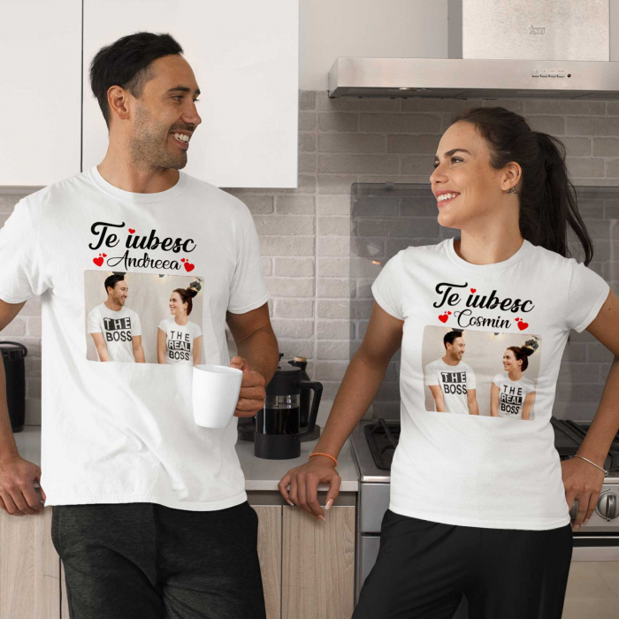 Set tricouri de cuplu  personalizate cu poza si nume [0]