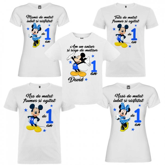"Set de 5 tricouri aniversare pentru nasi,parinti si copil ""Am un anisor si scap de motisor,Mickey"" [0]"