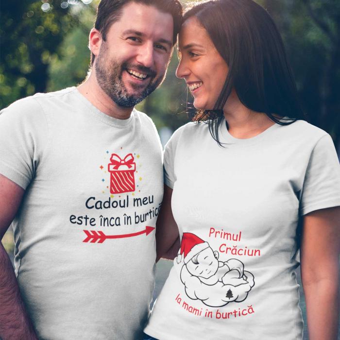Set 2 tricouri personalizate primul Craciun la mami in burtica [1]