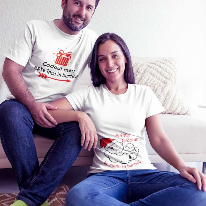 Set 2 tricouri personalizate primul Craciun la mami in burtica [0]