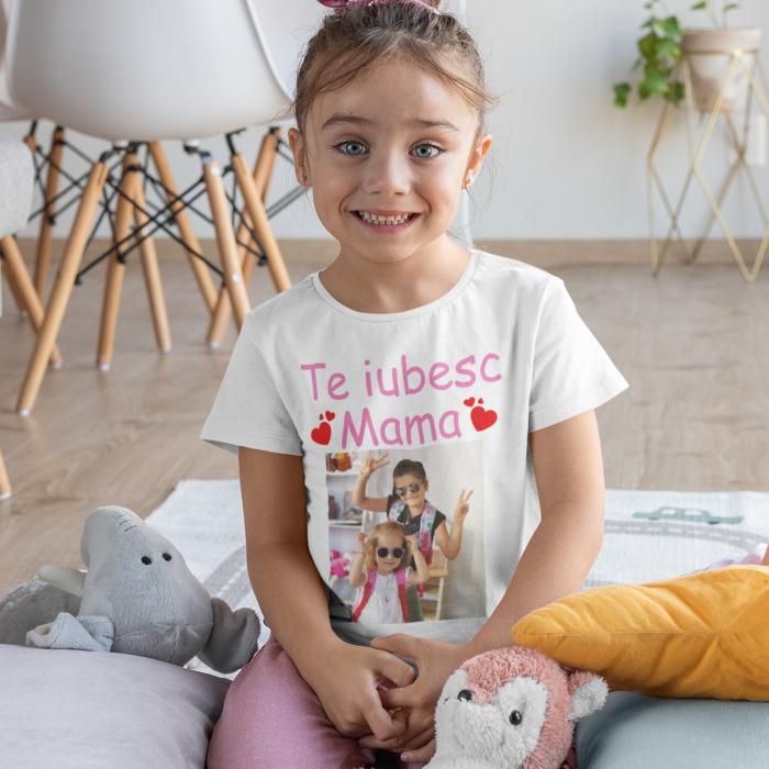 Tricou de copii personalizat cu poza si text te iubim mama [0]