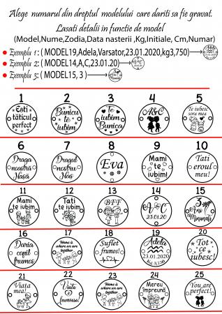 Bratara personalizata cu snur si bile cu banut de 10 mm din argint 925 cu initiale si simbol [1]