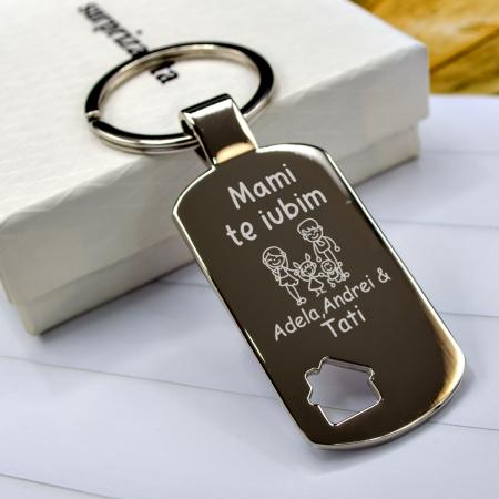 """Breloc motiv casa personalizat """"Te iubim mami"""" cu nume [0]"""