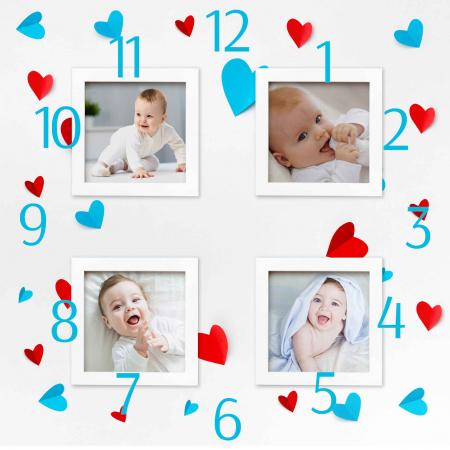Ceas personalizat cu 4 poze si inimioare [2]