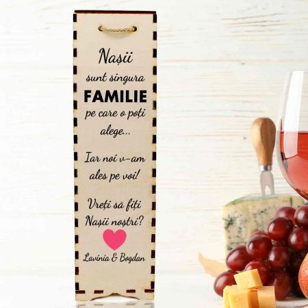 Cutie de vin personalizata cu model NASI cu text [0]