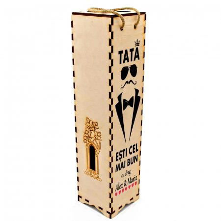 Cutie de vin personalizata cu model TATA si text [2]