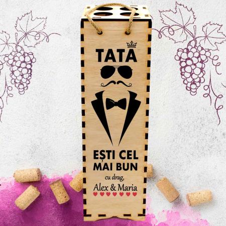 Cutie de vin personalizata cu model TATA si text [1]