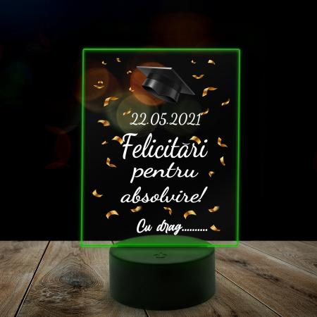 "Lampa 3D luminoasa personalizata ""Felicitari pentru absolvire"" [3]"