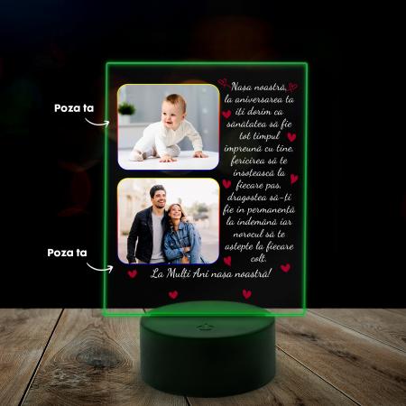 Lampa 3D luminoasa personalizata cu 2 poze si text [3]