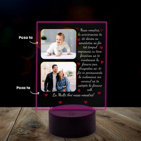 Lampa 3D luminoasa personalizata cu 2 poze si text [6]