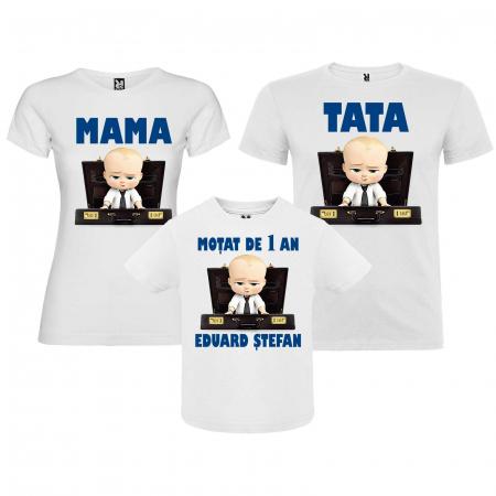 """Set 3 tricouri personalizate mama tata si copil cu nume si varsta """"Bebe Sef"""" [0]"""