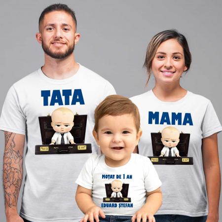 """Set 3 tricouri personalizate mama tata si copil cu nume si varsta """"Bebe Sef"""" [1]"""
