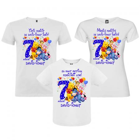 Set de 3 tricouri aniversare pentru mama,tata si copil personalizate cu varsta si nume Winnie [0]