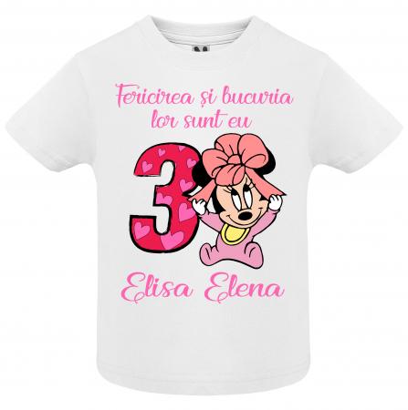 """Set de 3 tricouri aniversare pentru nasi,parinti si copil, personalizate cu nume,varsta si mesaj""""Fericirea si bucuria lor sunt eu,Minnie"""" [1]"""
