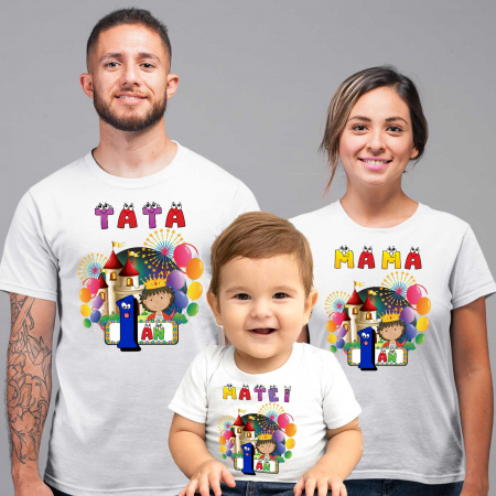 """Set de 3 tricouri,mama,tata si copil personalizate cu nume si varsta """"Print"""" [1]"""