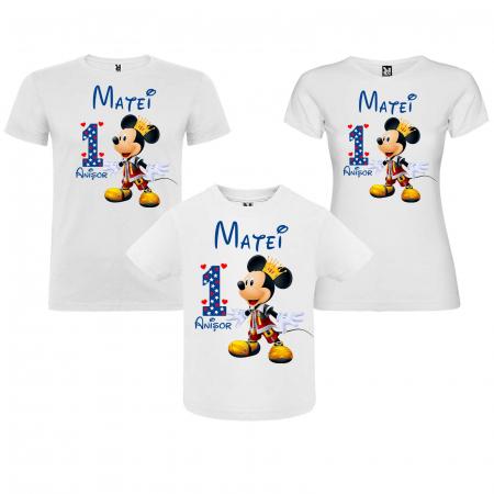"Set 3 tricouri mama, tata si copil personalizate cu nume si varsta ""print Mickey"" [0]"