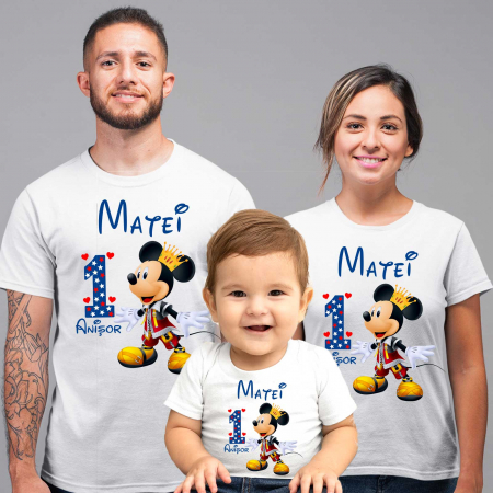 "Set 3 tricouri mama, tata si copil personalizate cu nume si varsta ""print Mickey"" [1]"