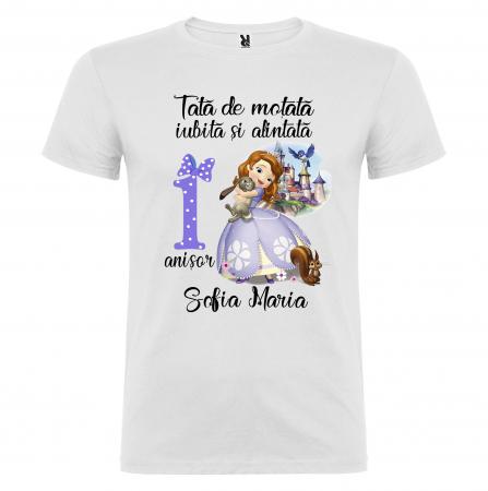 "Set de 3 tricouri aniversare pentru parinti si copil, personalizate cu nume,varsta si mesaj""Motata minunata iubita si alintata,printesa"" [3]"