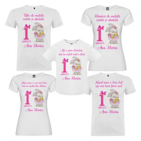 Set de 5 tricouri aniversare pentru nasi,parinti si copil,personalizate cu model iepuras [0]