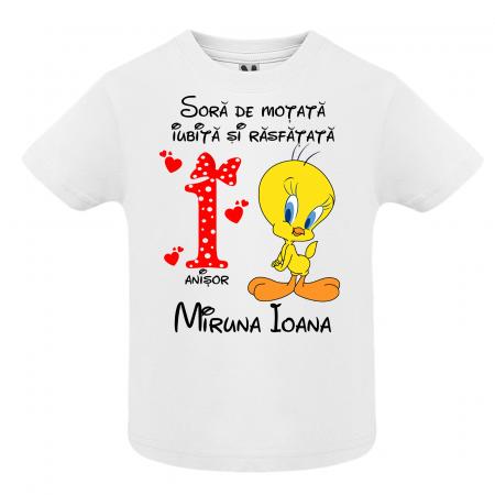 Set de 5 tricouri aniversare pentru nasi,parinti si copil,personalizate cu model Tweety [1]