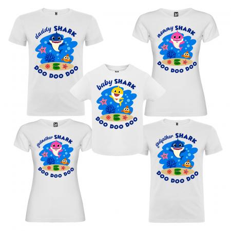 Set de 5 tricouri aniversare pentru nasi,parinti si copil,personalizate cu model Shark [0]