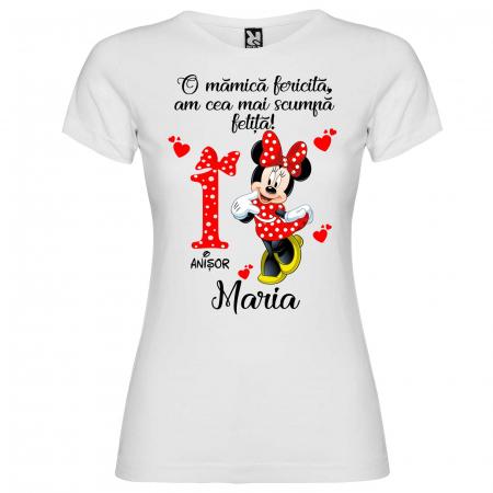 """Set de 5 tricouri personalizate pentru nasi parinti si copil fericirea si bucuria lor sunt eu """"Minnie"""" [1]"""
