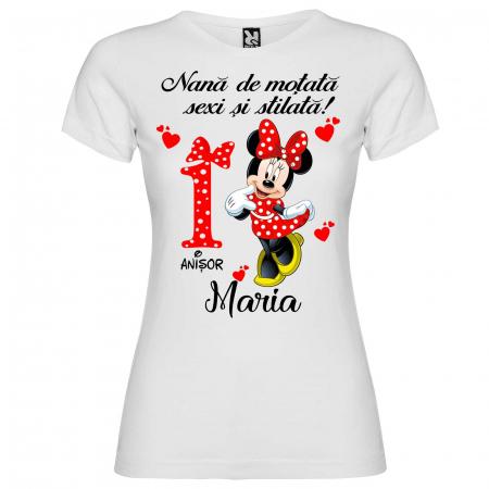 """Set de 5 tricouri personalizate pentru nasi parinti si copil fericirea si bucuria lor sunt eu """"Minnie"""" [3]"""