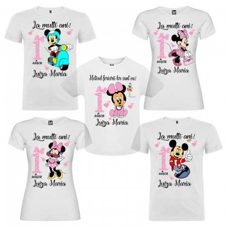 """Set de 5 tricouri aniversare pentru nasi,parinti si copil, personalizate cu nume """"La multi ani"""" [0]"""