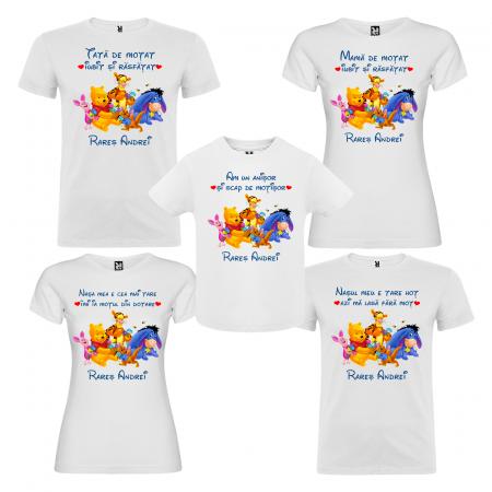 Set de 5 tricouri aniversare pentru nasi,parinti si copil,personalizate cu prietenii lu Winnie [0]