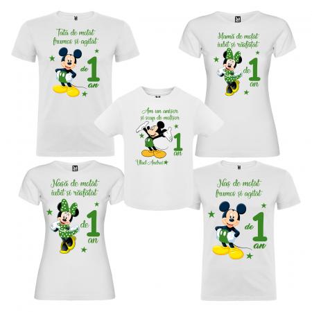 Set de 5 tricouri aniversare pentru nasi,parinti si copil,personalizate cu Mickey verde [0]