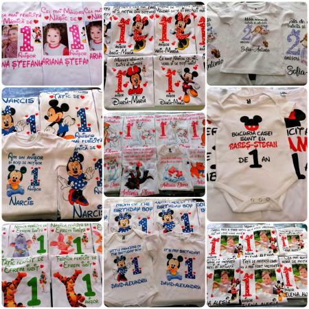 """Set de 5 tricouri aniversare pentru nasi,parinti si copil, personalizate  cu nume,varsta si mesaj""""Motivul fericirii lor,Unicorn"""" [3]"""