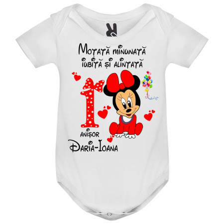 "Set de 5 tricouri aniversare pentru nasi,parinti si copil, personalizate cu nume,varsta si mesaj""Motata minunata iubita si alintata,Minnie"" [1]"