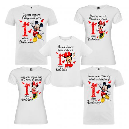 "Set de 5 tricouri aniversare pentru nasi,parinti si copil, personalizate cu nume,varsta si mesaj""Motata minunata iubita si alintata,Minnie"" [0]"