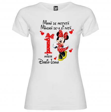 "Set de 5 tricouri aniversare pentru nasi,parinti si copil, personalizate cu nume,varsta si mesaj""Motata minunata iubita si alintata,Minnie"" [4]"