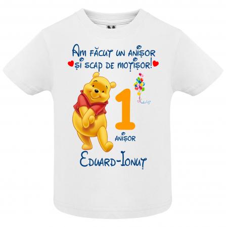Set de 5 tricouri aniversare pentru nasi,parinti si copil, personalizate cu nume,varsta si mesaj,Winnie [2]