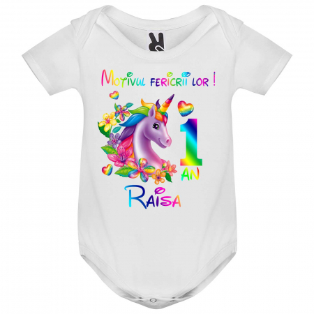 """Set de 5 tricouri aniversare pentru nasi,parinti si copil, personalizate  cu nume,varsta si mesaj""""Motivul fericirii lor,Unicorn"""" [2]"""